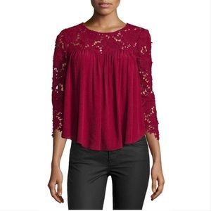Lovers + Friends Dreamland burgundy floral lace